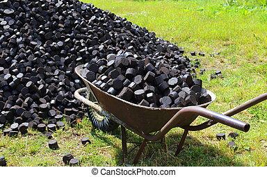 vieux, utilisé, apporter, brouette, charbon