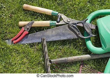 vieux, utilisé, Outils, jardin, fond