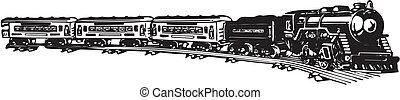 vieux, vapeur, train.