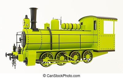 vieux, vapeur, vert, train