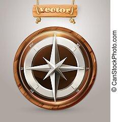 vieux, vecteur, compas, 3d, icône