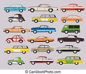 vieux, vecteur, ensemble, voiture