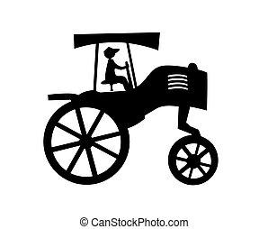 vieux, vecteur, fond, silhouette, blanc, tracteur