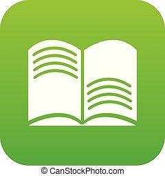 vieux, vecteur, vert, magie, livre ouvert, icône