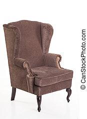vieux, velours, fauteuil