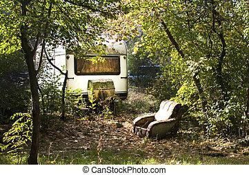 vieux, vendange, abandonnés, caravane