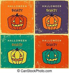 vieux, vendange, halloween, illustration, potirons, retro, cartes, fête