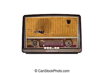 vieux, vendange, isolé, radio, fond, blanc