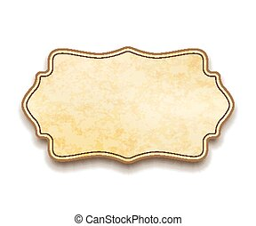 vieux, vendange, isolé, texture, étiquette, papier, beige, blanc