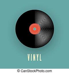 vieux, vendange, record., illustration, vecteur, musique, vinyle, phonographe