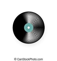 vieux, vendange, record., isolé, illustration, vecteur, musique, vinyle, phonographe, blanc