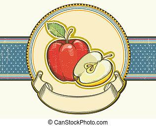 vieux, vendange, texture.vector, étiquette, papier, pommes, fond, illu