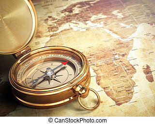 vieux, vendange, voyage, map., compas, mondiale, concept.