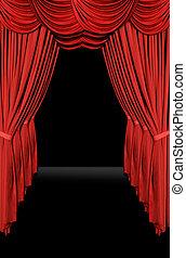vieux, vertical, élégant, façonné, théâtre, étape