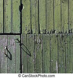 vieux, vertical, peint, partie, porte verte, planches, grange