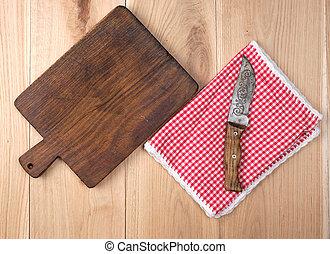 vieux, vide, couteau cuisine, table bois, planche découper