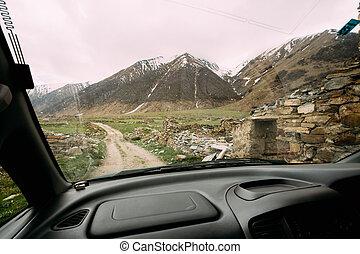 vieux, voiture abandonnée, ruiné, maisons, fenêtre, village, vue