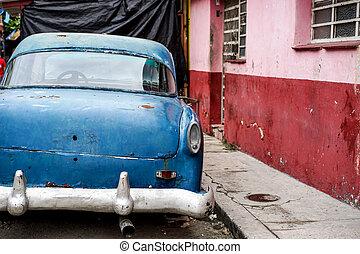 vieux, voiture bleue, vendange