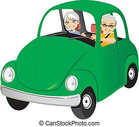 vieux, voiture, couple