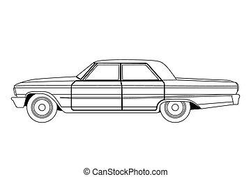 Croquis vieux contour voiture petit sport vieux contour croquis voiture vecteur typon - Croquis voiture ...