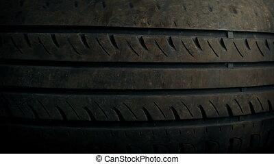 vieux, voiture, pneu, en mouvement, coup