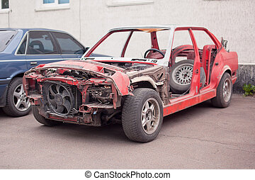 vieux, voiture, rouillé, côté, rouges, vue