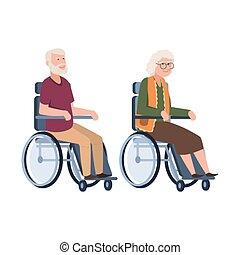 vieux, wheelchair., gens, incapacité, couple, person., ...
