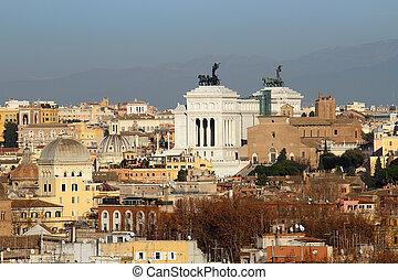 view above Altare della Patria and downtown of Rome, Italy