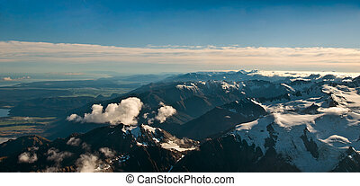 View above the Southern Alps in New Zealand