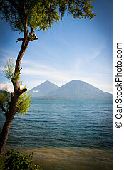 View across a lake in Guatemala