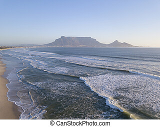 View across the ocean to Table Mountain, Cape Town, South Africa