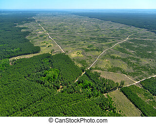 view)., (aerial, deforestation.