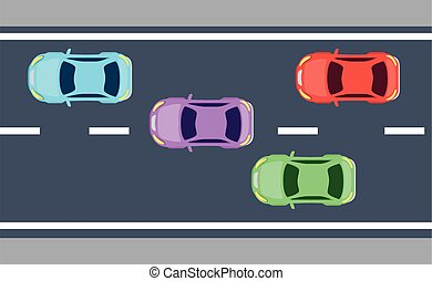 view aerial, of sedan cars vehicles in the
