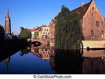 View along Dijver, Bruges. - View along the Dijver, Bruges,...