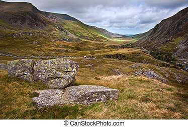 View along Nant Francon mountain valley in Snowdonia...