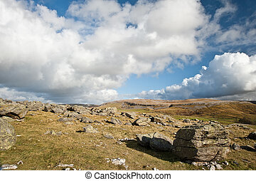 View along Norber Ridge towards Moughton Scar in distance in Yorkshire Dales National Park