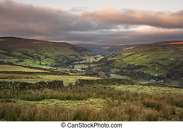 View along Swaledale in Yorkshire Dales National Park during...