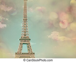 View and Eiffel tower with color background