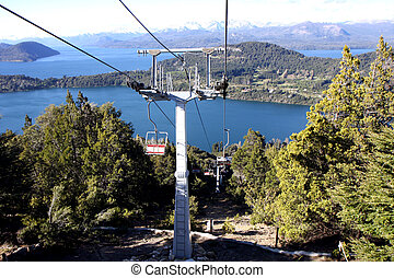 View from the Cerro Campanario lift to the viewpoint next to Bariloche in Argentina