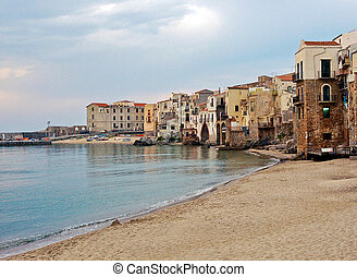 View at beach in Cefalu - Beautyfull view at calm city beach...