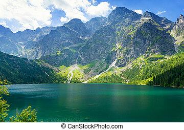 View at beautiful lake `Sea Eye` in the Tatra mountains, Zakopane, Poland