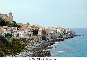 View at coast in Cefalu - Beautyfull view at calm city beach...