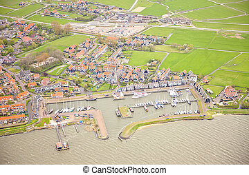 View at harbor of historic island of Marken, The Netherlands from above