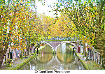 View at historical canal in Utrecht, The Netherlands