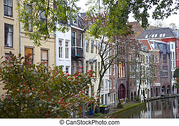 View at houses near canal in Utrecht, The Netherlands