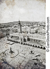 View at Krakow, Poland. Photo in old image style.