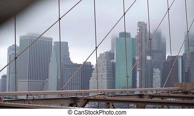 View at Manhattan and Hudson from Brooklyn bridge