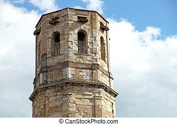View at medieval bell tower in Montalcino, Tuscany, Italy
