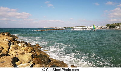 View at Mediterranean sea from Pafos, Cyprus - View at...