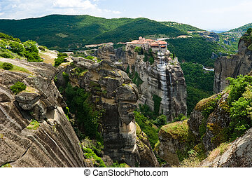 Meteora Rocks - View at Meteora Rocks with The Holy...
